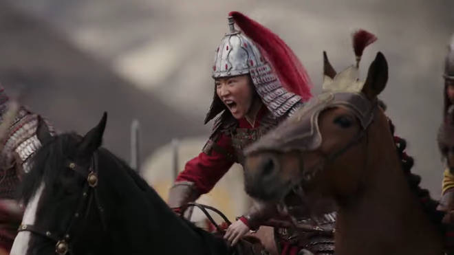 A screenshot from the trailer of Mulan 2020
