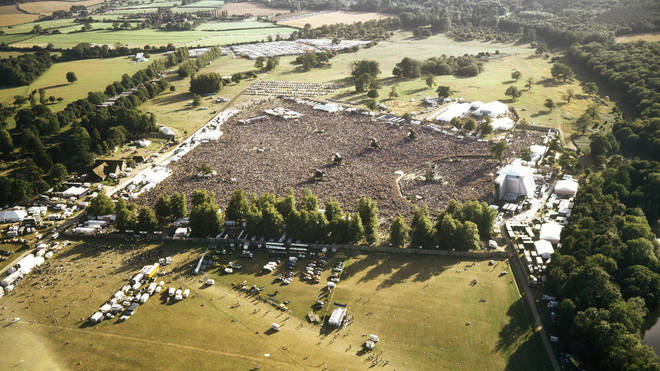 Oasis at Knebworth as seem from the air, August 1996