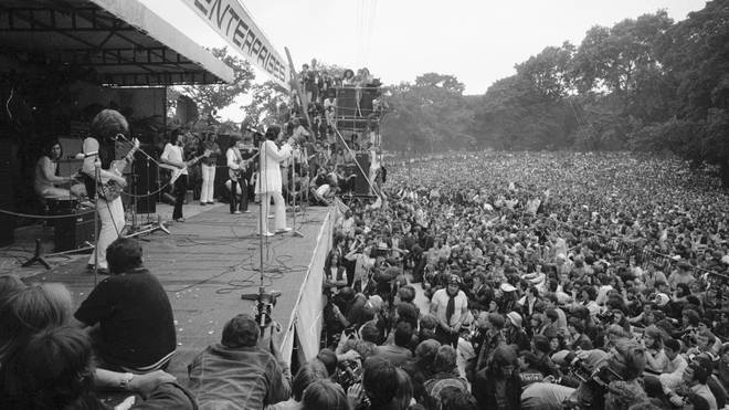 The Rolling Stones on stage at their free concert in London's Hyde Park on 5 July 1969