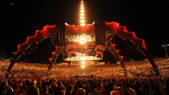 U2 perform at Rose Bowl during their U2 360 Tour on October 25, 2009 in Pasadena, California.
