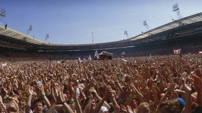 A sea of arms at Live Aid, Wembley Stadium, 13 July 1985