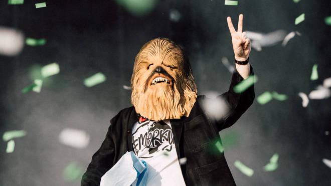 Lewis Capaldi wears a Chewbacca at TRNSMT Festival 2019