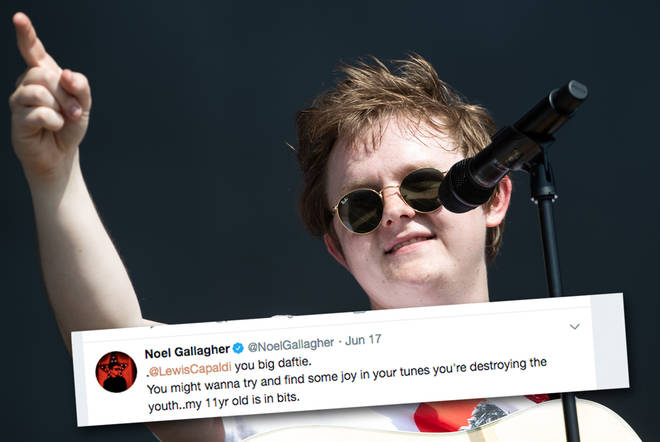 Lewis Capaldi at Glastonbury, complete with Noel Gallagher tweet