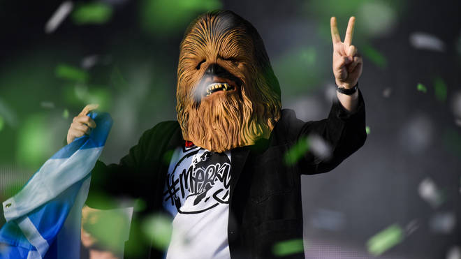 Lewis Capaldi wears a Chewbacca mask at TRNSMT 2019