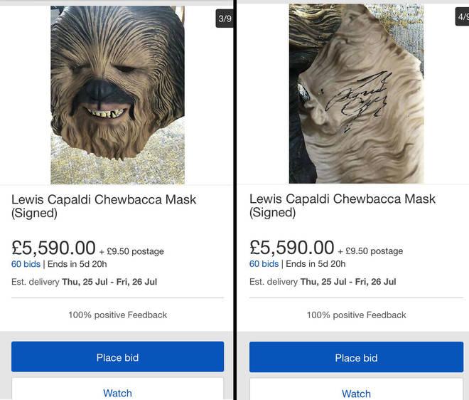 Signed Lewis Capaldi mask listed on eBay