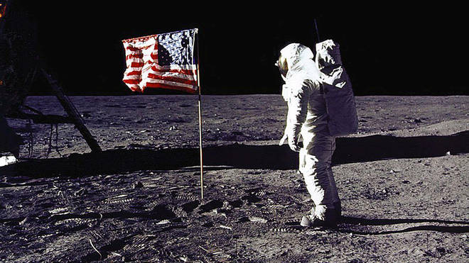 "Edwin E. ""Buzz"" Aldrin, Jr. saluting the US flag on the surface of the Moon during the Apollo 11 lunar mission."