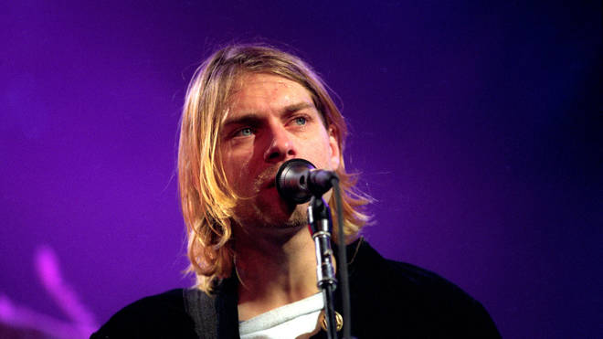 Nirvana frotnman Kurt Cobain performs at Live and Loud in December 1993