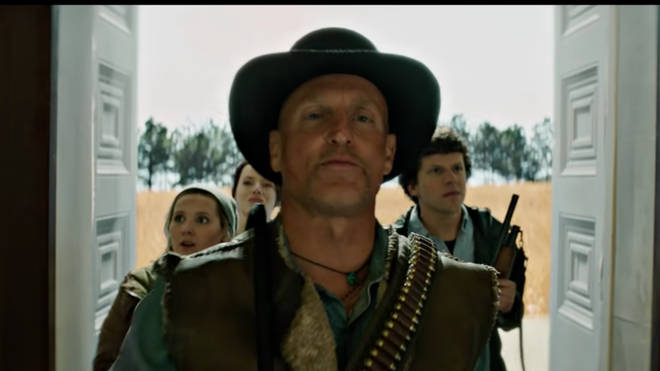 A screenshot of Woody Harrelson and more in the Zombieland: Double Tap trailer