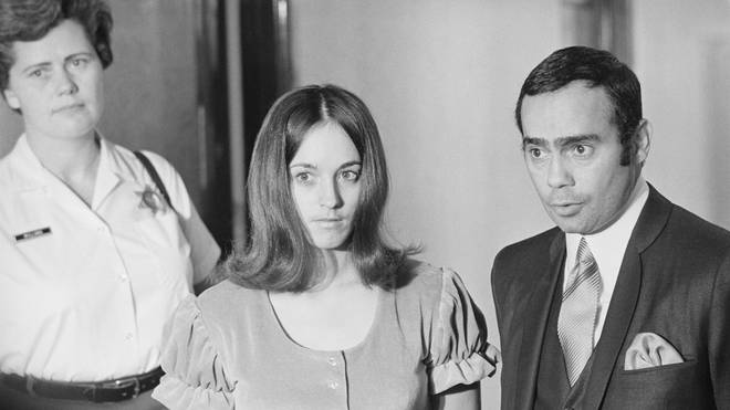 Susan Atkins leaving the courtroom before after testifying before the Los Angeles Grand Jury in December 1969.
