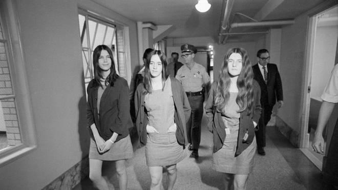 Leslie Van Houten, Susan Atkins, and Patricia Krenwinkel at their trial in August 1970