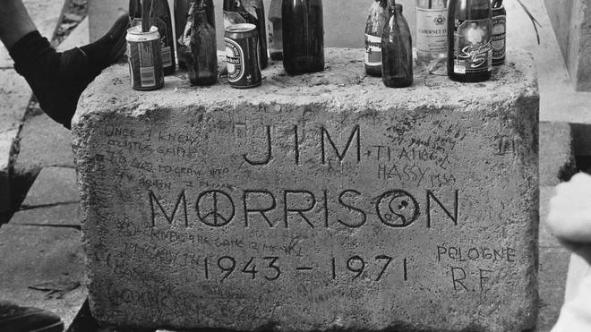 The grave of Jim Morrison in Père Lachaise Cemetery, Paris, France