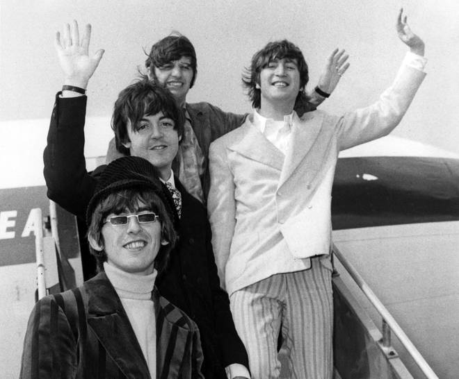 The Beatles at London Airport in June 1966