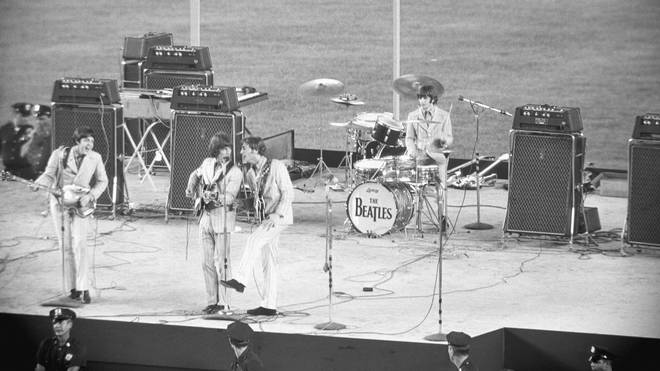 The Beatles Performing at Shea Stadium on 23 August 1966