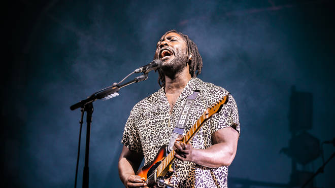 Kele Okereke of Bloc Party performs on stage during Bristol Sounds 2019