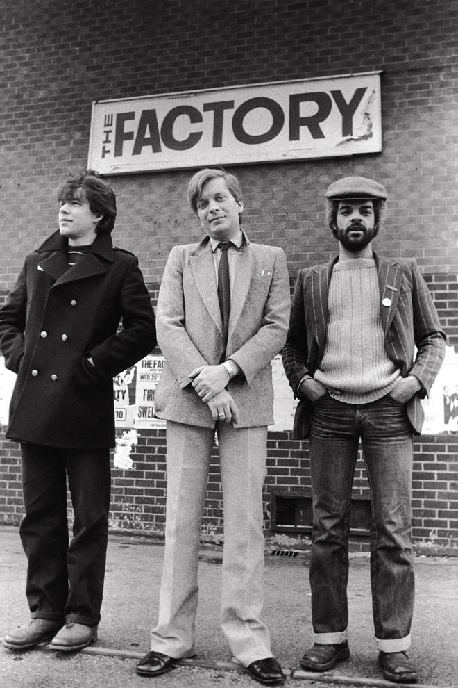 Peter Saville, Tony Wilson and Alan Erasmus outside the original Factory club in 1978