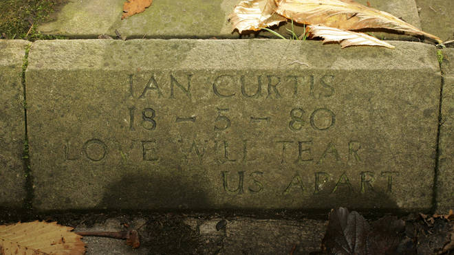 The original memorial stone for Ian Curtis of Joy Division, pictured in 2004