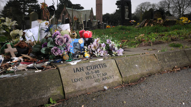The replacement stone for Ian Curtis, laid after the original was stolen in 2008