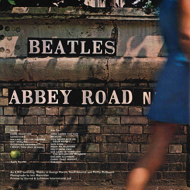 The back cover of The Beatles' Abbey Road album