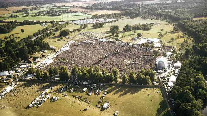 Aerial shot of the Oasis show at Knebworth, August 1996