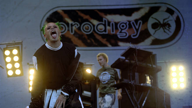 The Prodigy perform onstage at Knebworth, 10 August 1996