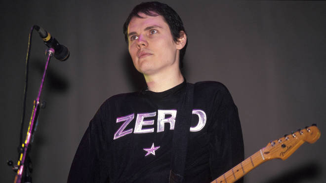 Billy Corgan of Smashing Pumpkins performing live in 1995