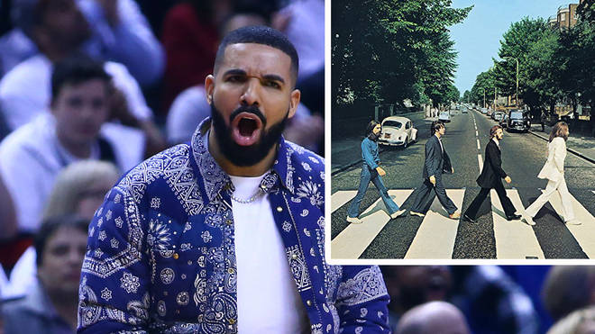 Drake with The Beatles Abbey Road album artwork