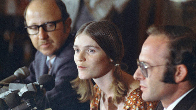 Linda Kasabian speaks at a news conference she held at end of her 18 days on stand as a prosecution witness in the Manson Family murder trials in Los Angeles, 19 August 1970.