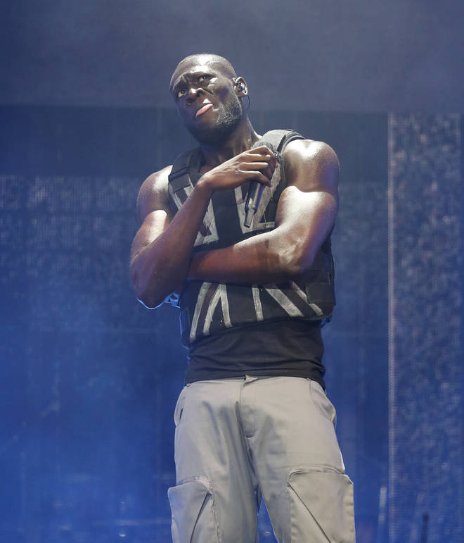 Stormzy performing on the Pyramid Stage during Glastonbury Festival 2019