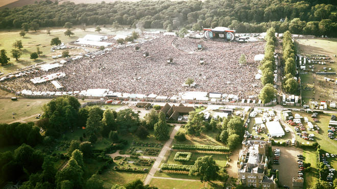 Aerial shot of Oasis at Knebworth in August 1996