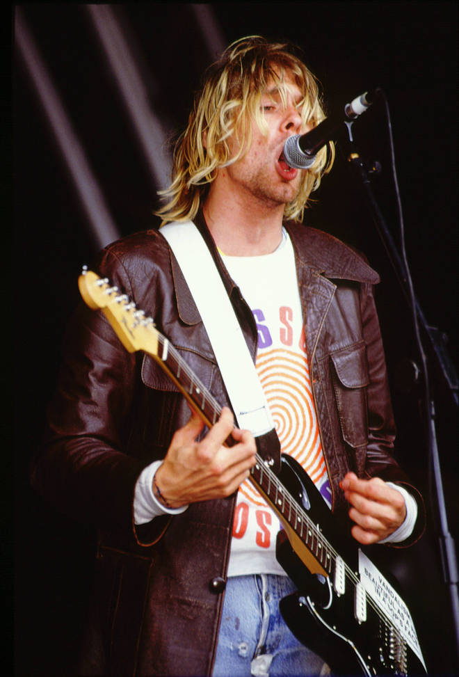 Kurt Cobain performing with Nirvana at Reading Festival in 1991