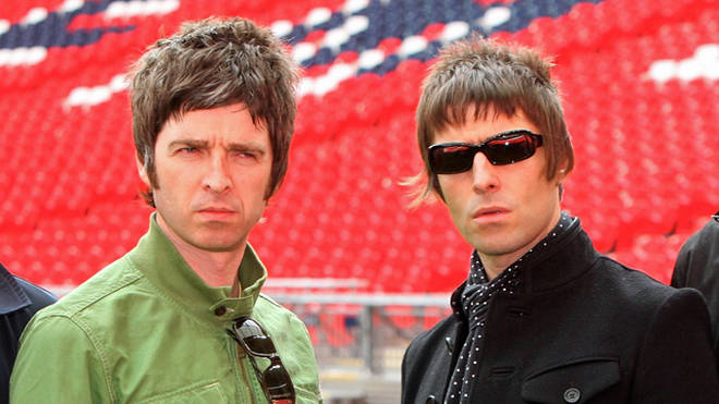 Noel and Liam Gallagher at Wembley Stadium for the launch of the last Oasis album, 2008