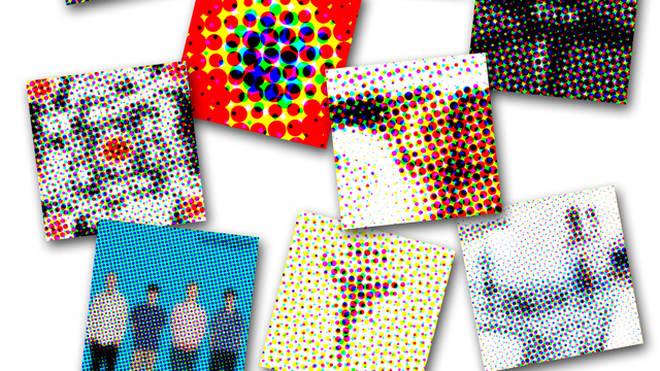 Pixellated 1990s album covers