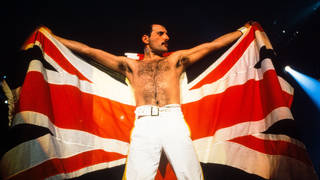 Freddie Mercury takes a curtain call at Queen's show at Knebworth, 9 August 1986