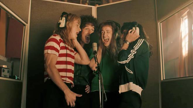 Ben Hardy, Gwilym Lee, Joseph Mazello and Rami Malek in Bohemian Rhapsody film