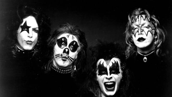 Paul Stanley, Peter Criss, Gene Simmons and Paul Stanley of Kiss in 1974