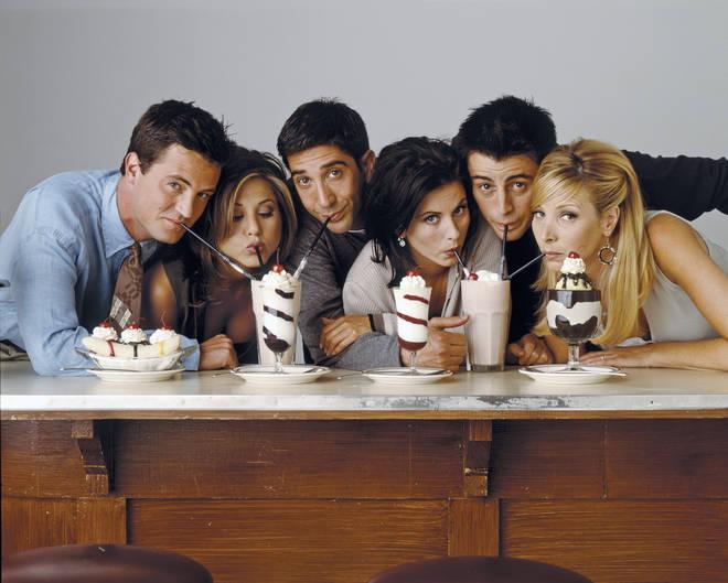 Friends: Matthew Perry as Chandler Bing, Jennifer Aniston as Rachel Green, David Schwimmer as Ross Geller, Courteney Cox as Monica Geller, Matt Le Blanc as Joey Tribbiani, Lisa Kudrow as Phoebe Buffay
