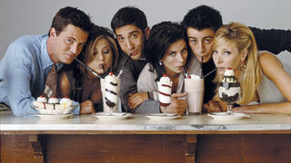 Friends: Matthew Perry as Chandler Bing, Jennifer Aniston as Rachel Green, David Schwimmer as Ross Geller, Courteney Cox as Monica Geller, Matt Le Blanc as Joey Tribbiani, Lisa Kudrow as Phoebe Buffay