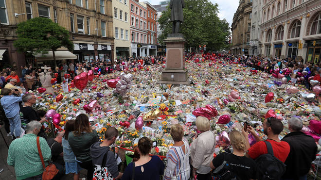 Tributes at Manchester's St Ann's Square