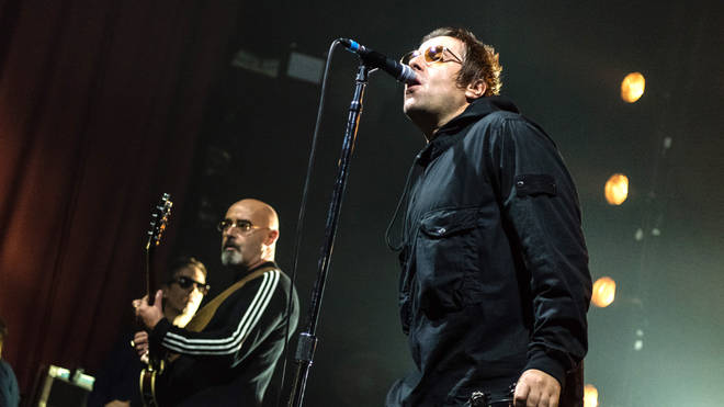Liam Gallagher onstage at the O2 Ritz Manchester with Bonehead