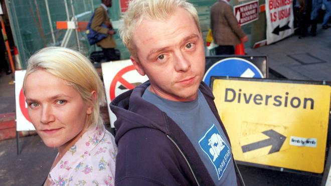 Jessica Stevenson and Simon Pegg in Spaced, 1999
