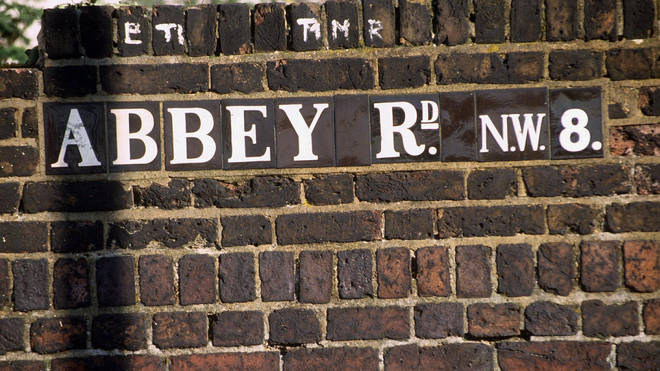"One of the few remaining original ""Abbey Road"" signs pictured 1998"