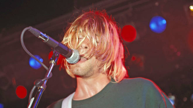 Kurt Cobain performing with Nirvana in August 1991