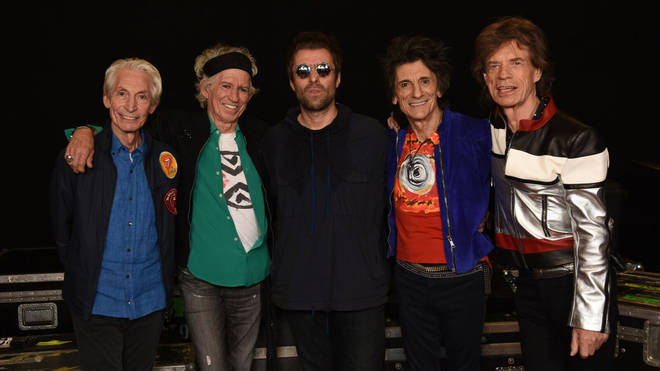 The Rolling Stones pose with Liam Gallagher