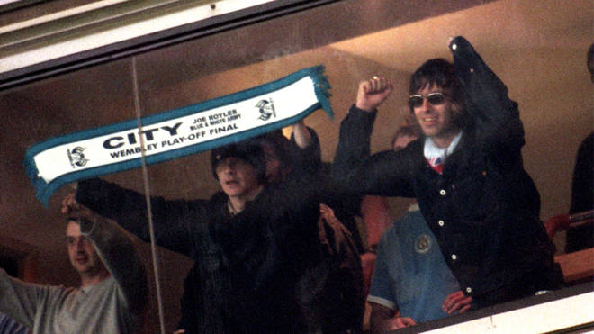 Liam Gallagher watching Manchester City FC in 1999