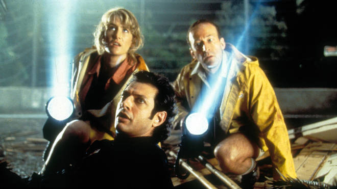 Laura Dern, Jeff Goldblum and Bob Peck in Jurassic Park (1993)