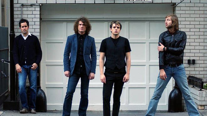 The Killers in October 2004: Ronnie Vannucci, Dave Keuning, Brandon Flowers and Mark Stoermer