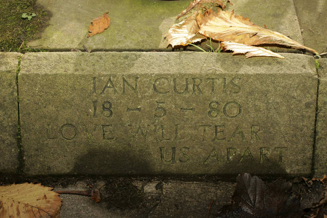 Ian Curtis's memorial stone pictured in 2004