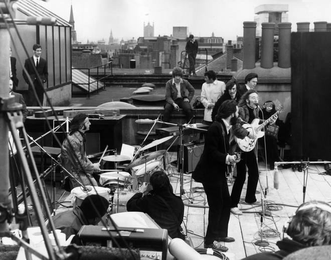 The Beatles on the roof of Apple, 30 January 1969