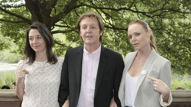 Sir Paul McCartney and his daughters Mary and Stella McCartney attend the launch of the new food campaign Meat Free Monday at Inn The Park, St. James Park, London, 15 June 2009.
