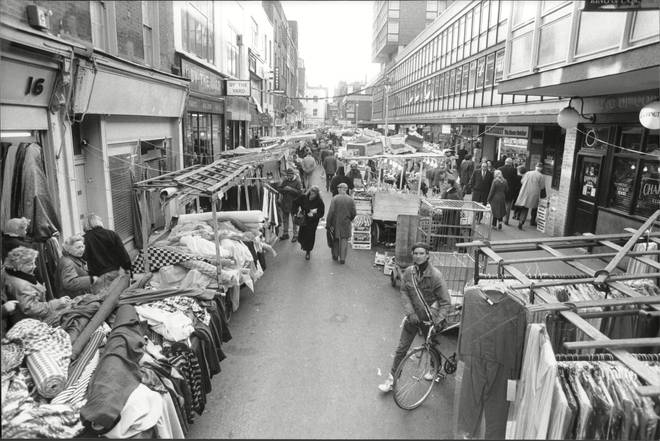 Berwick Street market in January 1989 - looking farily similar to how it appeared on the cover of the Oasis album